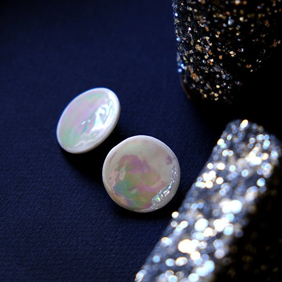Big round stud earrings iridescent porcelain