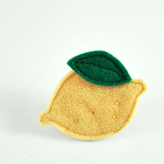 yellow and green Lemon brooch made with felt