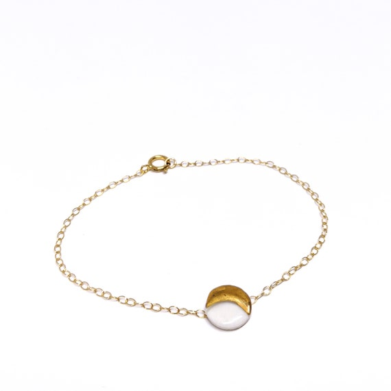 Moon porcelain bracelet with gold and brass gold plated