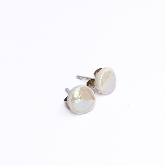Mini round stud earrings iridescent porcelain