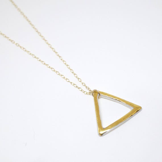 "Neacklace ""Triangles d'Or"" porcelain and gold jewelry"