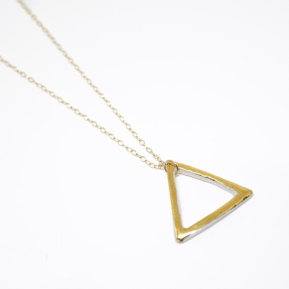 "Necklace ""Triangles d'Or"" porcelain and gold jewelry"