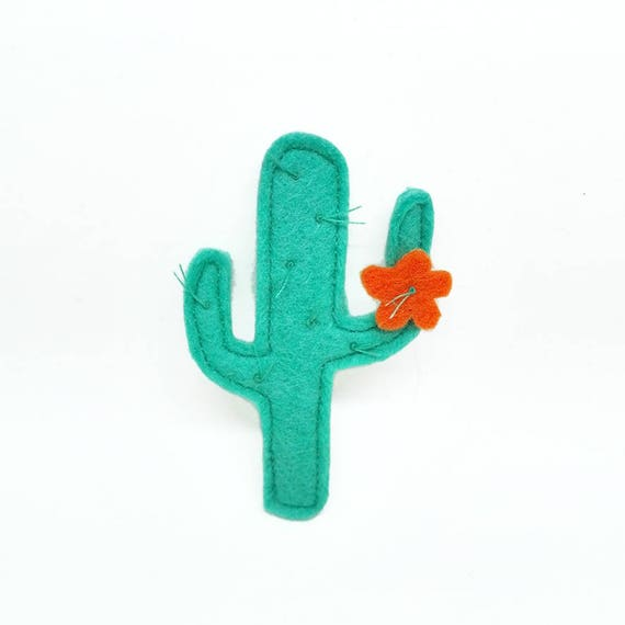 cactus brooch orange flower