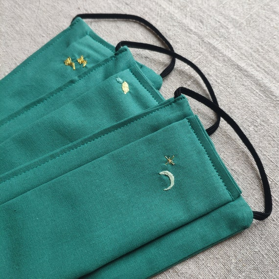 emerald green hand embroidered cotton barrier mask