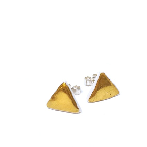 earring studs  GOLD TRIANGLES porcelain and gold jewelry