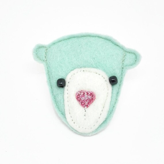 mint bear brooch