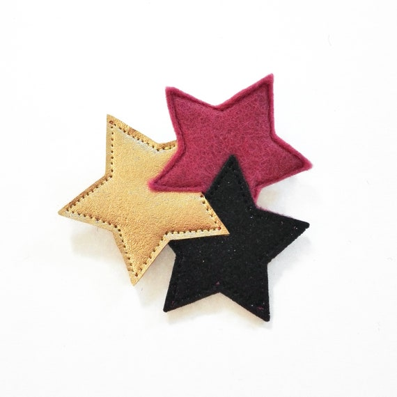 pink and gold sparkling  three stars brooch