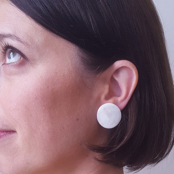 Big round stud earrings iridescent and cracked porcelain