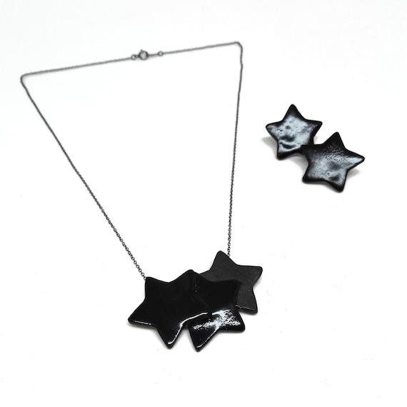 3 Black stars neacklace