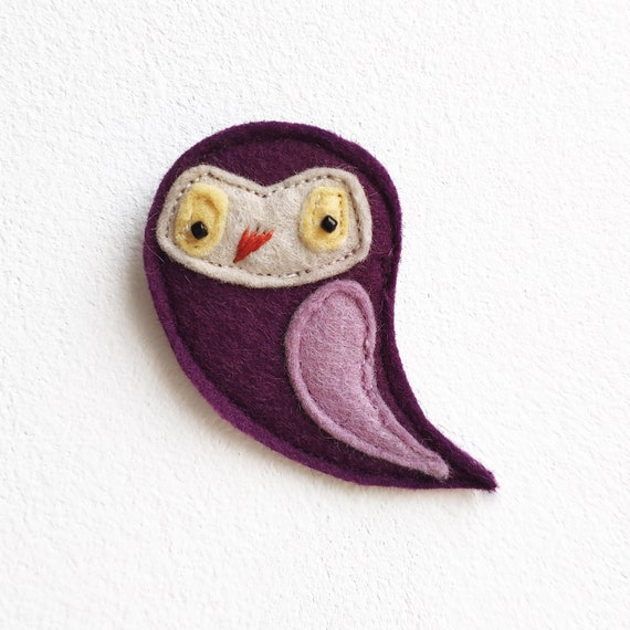 purple felt owl brooch
