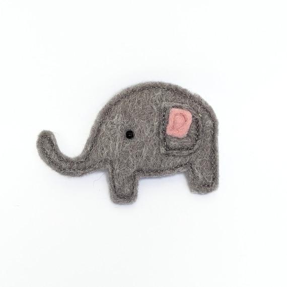grey cute elephant brooch made with felt