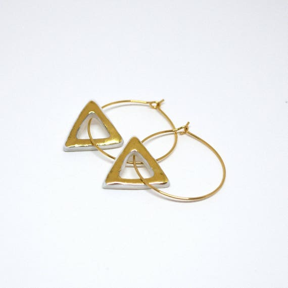 "Earrings Hoops ""Triangles d'Or"" porcelain and gold jewelry"