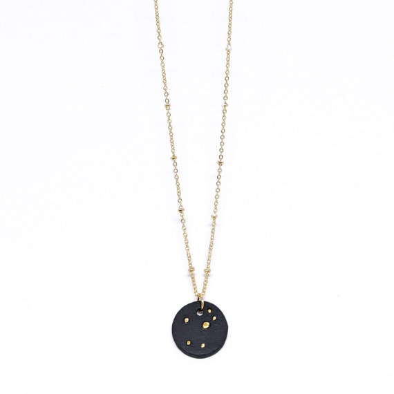Céleste porcelain choker necklace on gold plated satellite chain