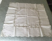 Vintage Fine Linen Table Cloth Hand Embroidered Floral Madeira 41 in. X 42 in.
