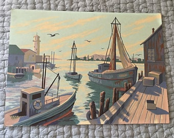 Vintage paint by numbers bo in harbor 12 x 16