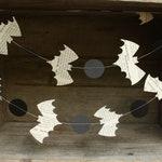 Bat Garland Halloween Decoration, Halloween Garland, Book Page Bats, 6 feet long
