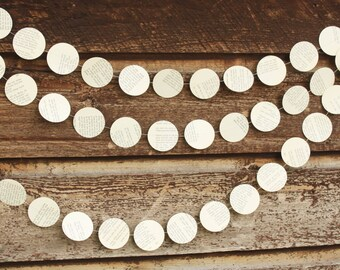 Paper Garland, Book Page Garland, Dot Garland, Vintage, Wedding Decoration, Book Theme, Party Decoration, Large 2 inch dots, 10 feet long