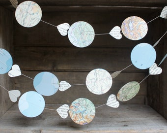 Map Garland, Travel Theme Decorations, Paper Garland, Vintage Atlas, Bon Voyage Party, Hot Air Balloon Garland, 10 ft long