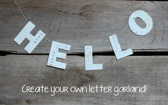 custom letter banner mini letter garland letter bunting etsy