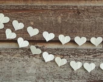 Wedding Garland, Heart Garland, Book Page Garland, Paper Garland, Paper Hearts - Strung Horizontally - 10 feet long