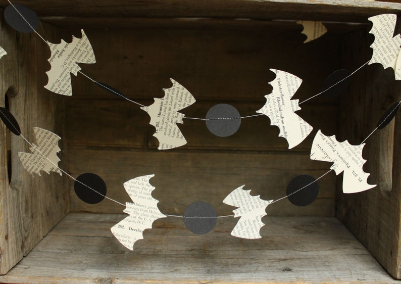 Bat Garland Halloween Decoration Halloween Garland Book Page image 0