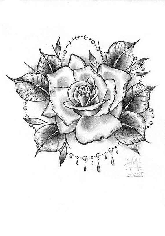 Dessin De Tatouage Rose Original Etsy
