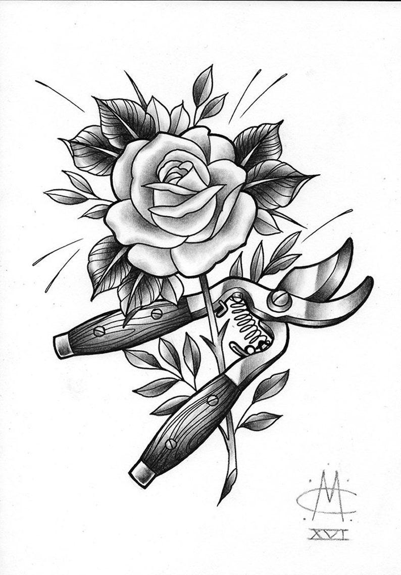 rose and secateurs original tattoo design drawing etsy. Black Bedroom Furniture Sets. Home Design Ideas