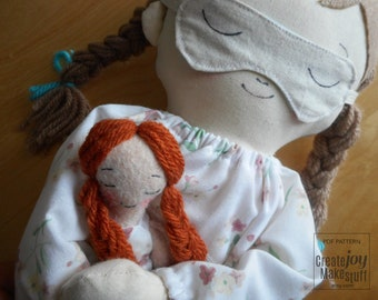 "Mini Felt Doll - 12cm - 5"" - A doll's doll - For 18"" Doll - Playtime - Sleepy - Sweet dreams - Pajama Party - Dollhouse"