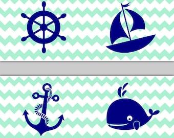 nautical nursery decor chevron border blue grey gray wall art