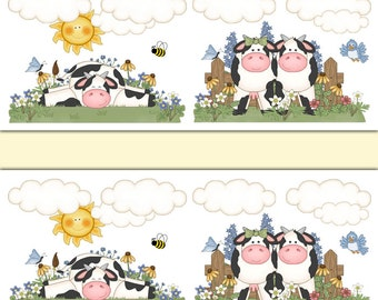 COW WALLPAPER BORDER Decals Wall Art Girl Farm Animal Nursery Stickers Room  Decor   Kids Barnyard Bedroom   Kitchen Dairy Cow Decorations