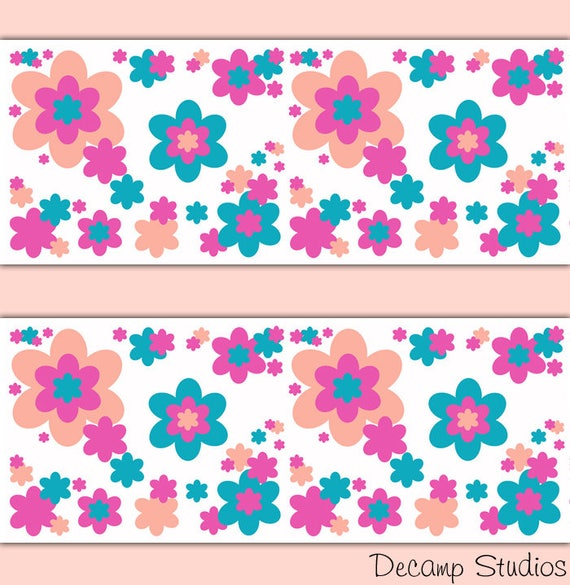 Floral wallpaper border wall art decals hot pink coral teal etsy image 0 mightylinksfo