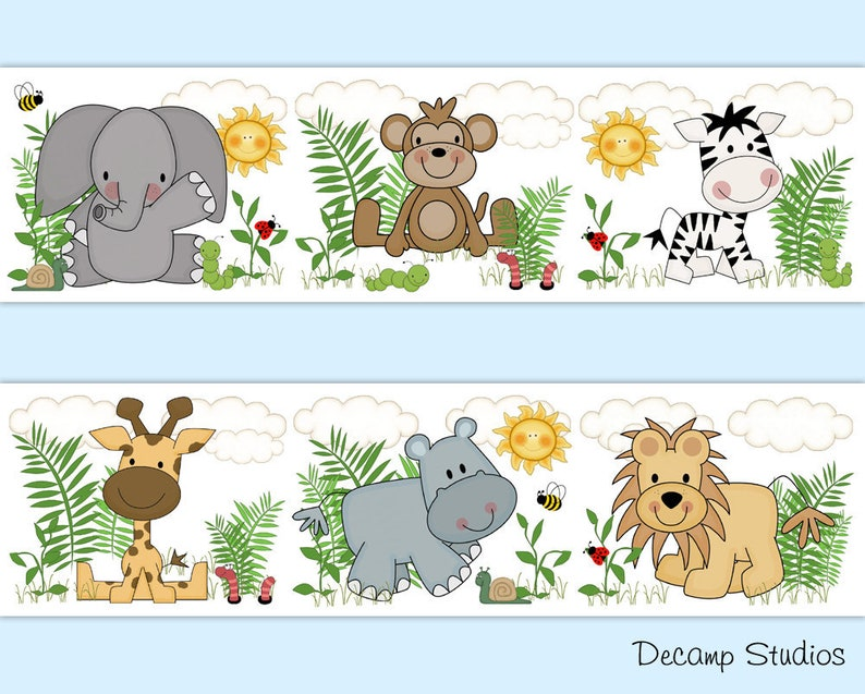 SAFARI ANIMALS DECALS Baby Nursery Wallpaper Border Wall ...
