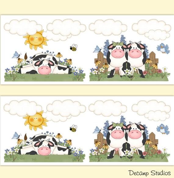Ferme Vache Animal Fille Chambre Denfant Papier Peint Bordure Etsy