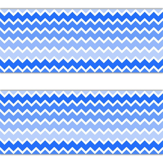 Blue Ombre Chevron Wallpaper Border Decal Wall Art Boy Nursery Etsy
