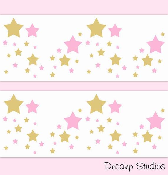 PRINCESS NURSERY BORDER Pink Gold Star Decal Baby Girl Wall