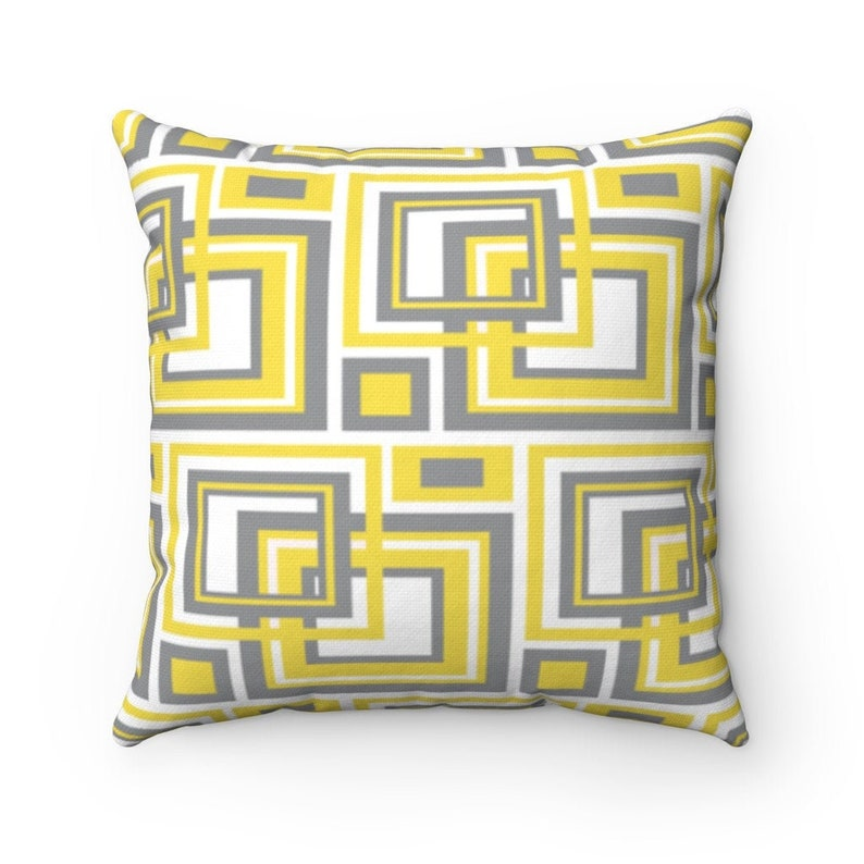 Pantone Color of the Year 2021 Illuminating Ultimate Grey YELLOW GRAY PILLOW Cover Modern Mid-Century Bedding Home Decor
