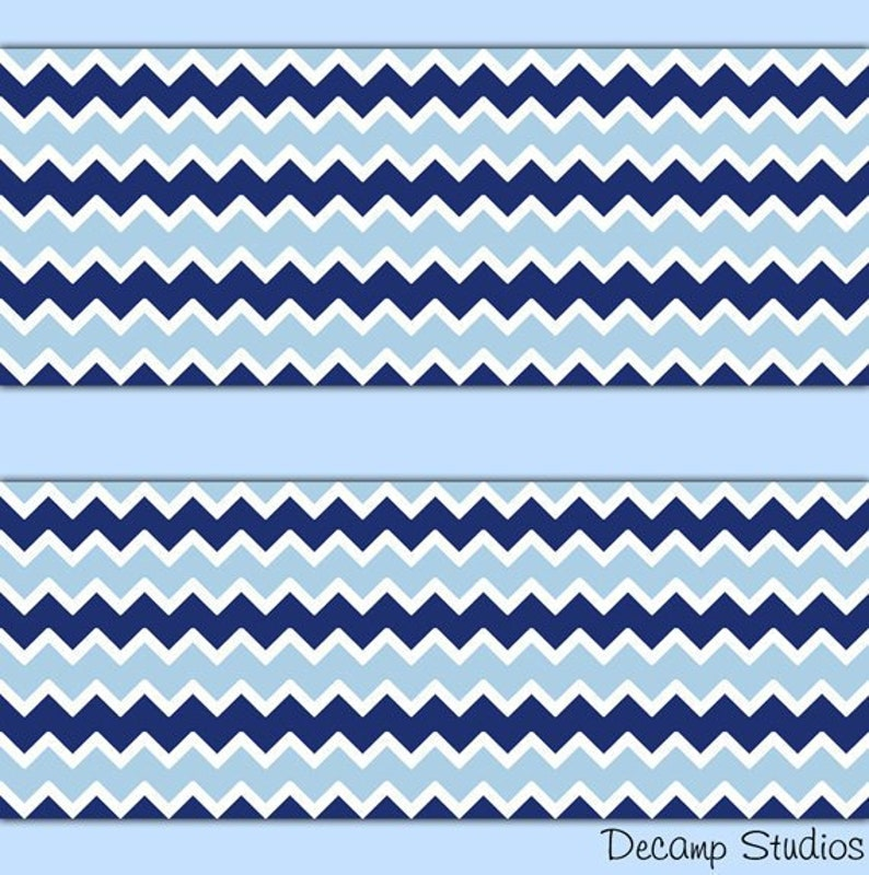 Navy Blue Chevron Wallpaper Border Wall Art Decals Baby Boy Etsy