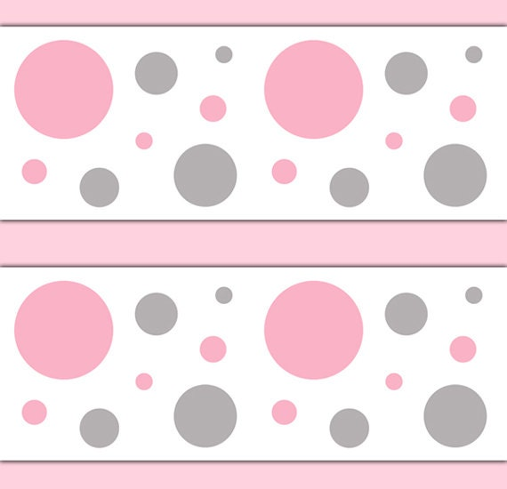 Girl Nursery Decor Pink Grey Gray Polka Dot Wallpaper Border Decals Wall Art Baby Room Childrens Bedroom Kids Geometric Circle Stickers