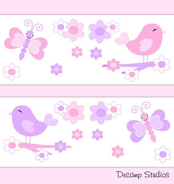 Butterfly Chickadee Nursery Baby Girl Wallpaper Border Decals Wall Art Pink Purple Bird Floral Kids Room Decor Girls Room Wall Art Decor