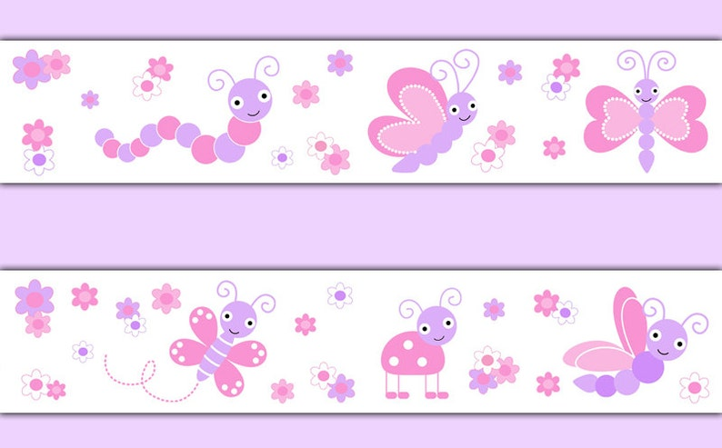 Butterfly Chickadee Nursery Baby Girl Wallpaper Border Wall Art Decals Kids Room