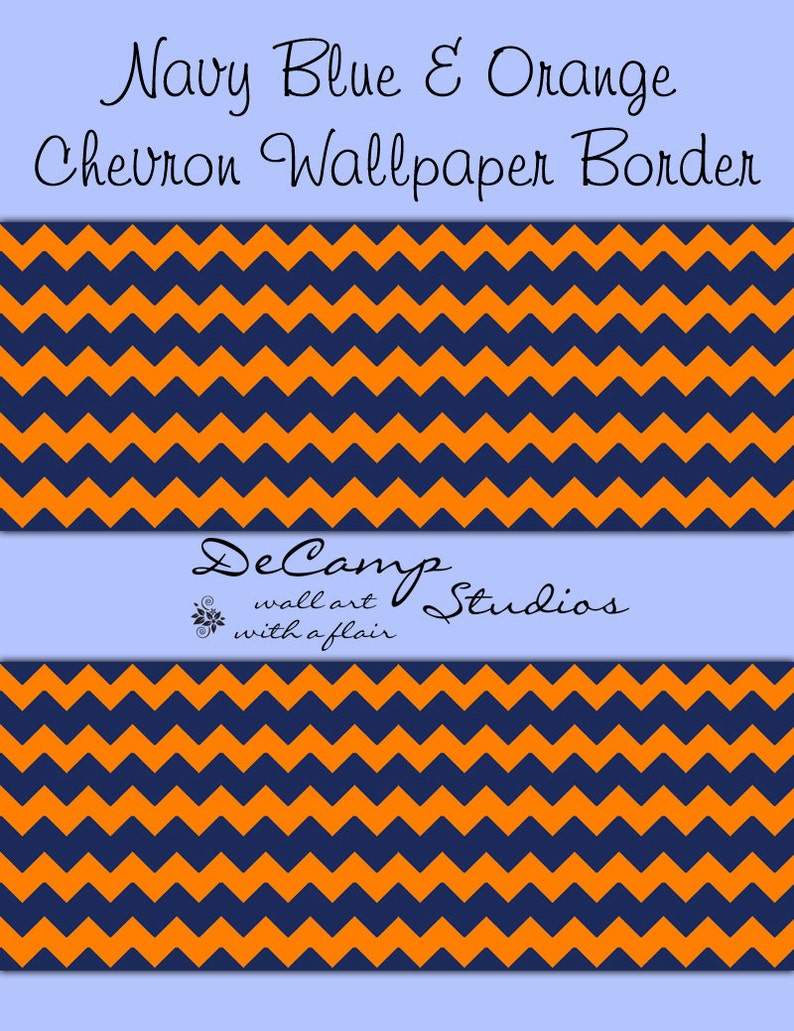 Chevron Wallpaper Border Wall Decal Navy Blue Coral Orange Etsy
