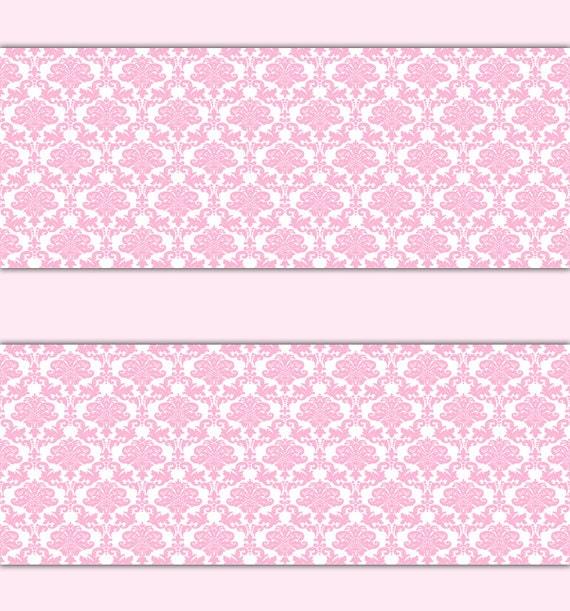 PINK DAMASK WALLPAPER Border Wall Decal Baby Girl Princess
