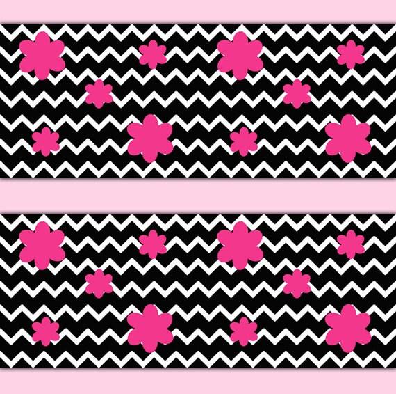 Black chevron wallpaper wall border art decal hot pink flower etsy image 0 mightylinksfo