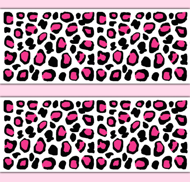 HOT PINK LEOPARD Print Wallpaper Border Decals Wall Art Teen Girl Safari  Animal Spots Room Stickers Decor Childrens Kids Jungle Bedroom