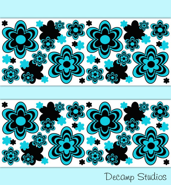 Items Similar To Teal Purple Abstract Flowers Wall Decor: TEAL FLORAL BORDER Decals Wall Art Girls Room Stickers