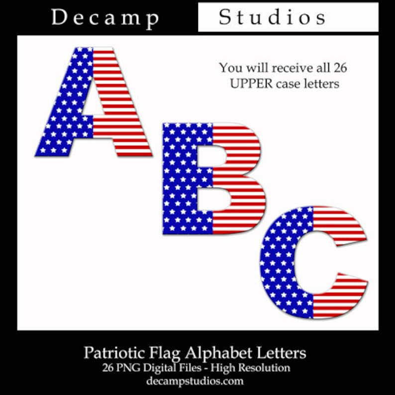 9f0d021857a AMERICAN FLAG 3D Digital Clip Art Graphics Alphabet Letters