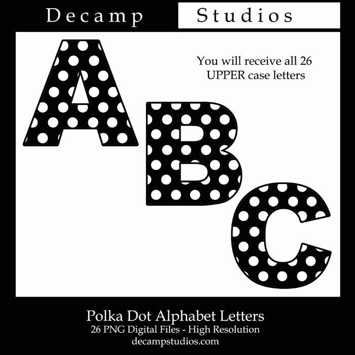 BLACK WHITE POLKA Dot Alphabet Letter Digital Clip Art