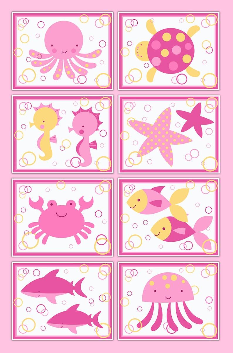 Sea Life Prints Wall Art Ocean Animals Creatures Pink Girl Etsy