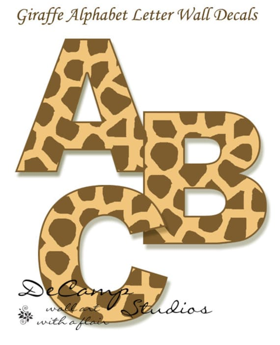 GIRAFFE LETTER DECAL Personalized Name Animal Print abc Wall