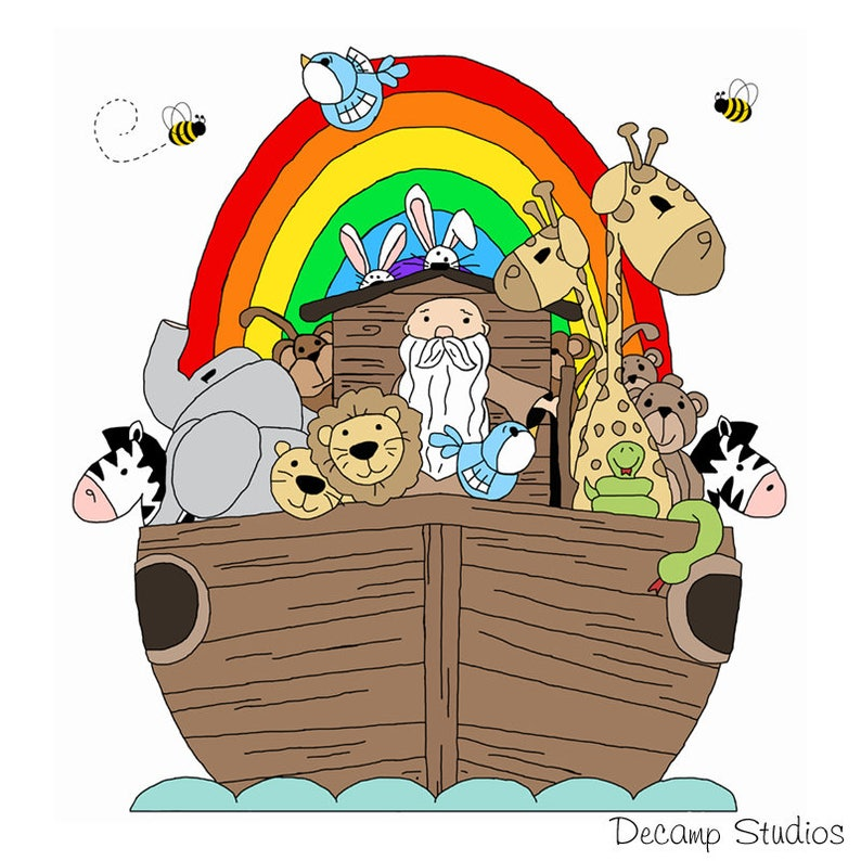 NOAHS ARK DECAL Nursery Wall Art Mural Safari Animals Stickers Kids Room  Decor - Jungle Baby Shower Decorations - Bible Story Characters